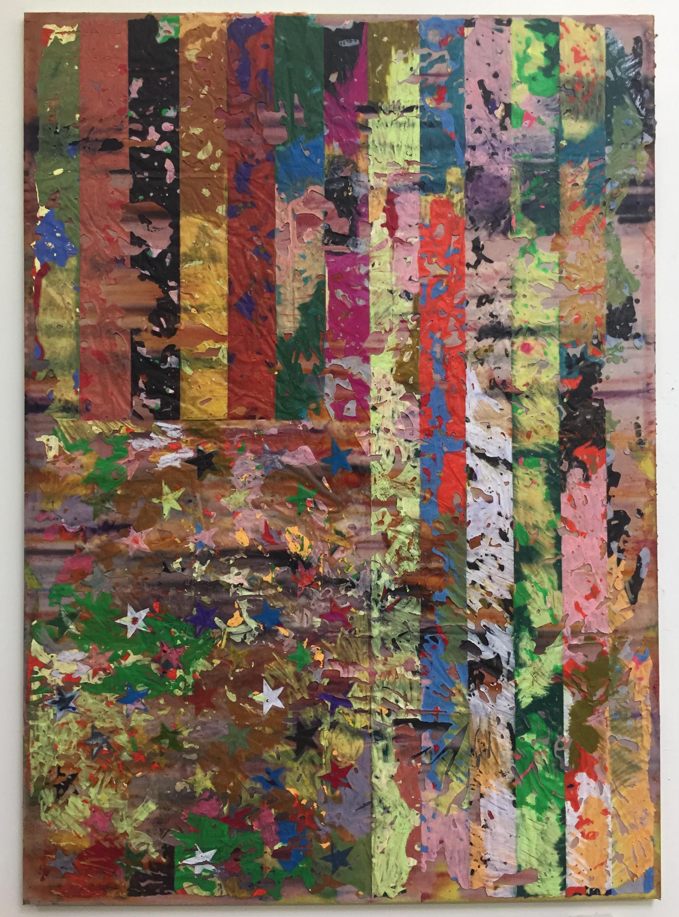 JPW3,  E Pray , 2018, wax transfer, oil pastel on canvas, 84 × 60 in.