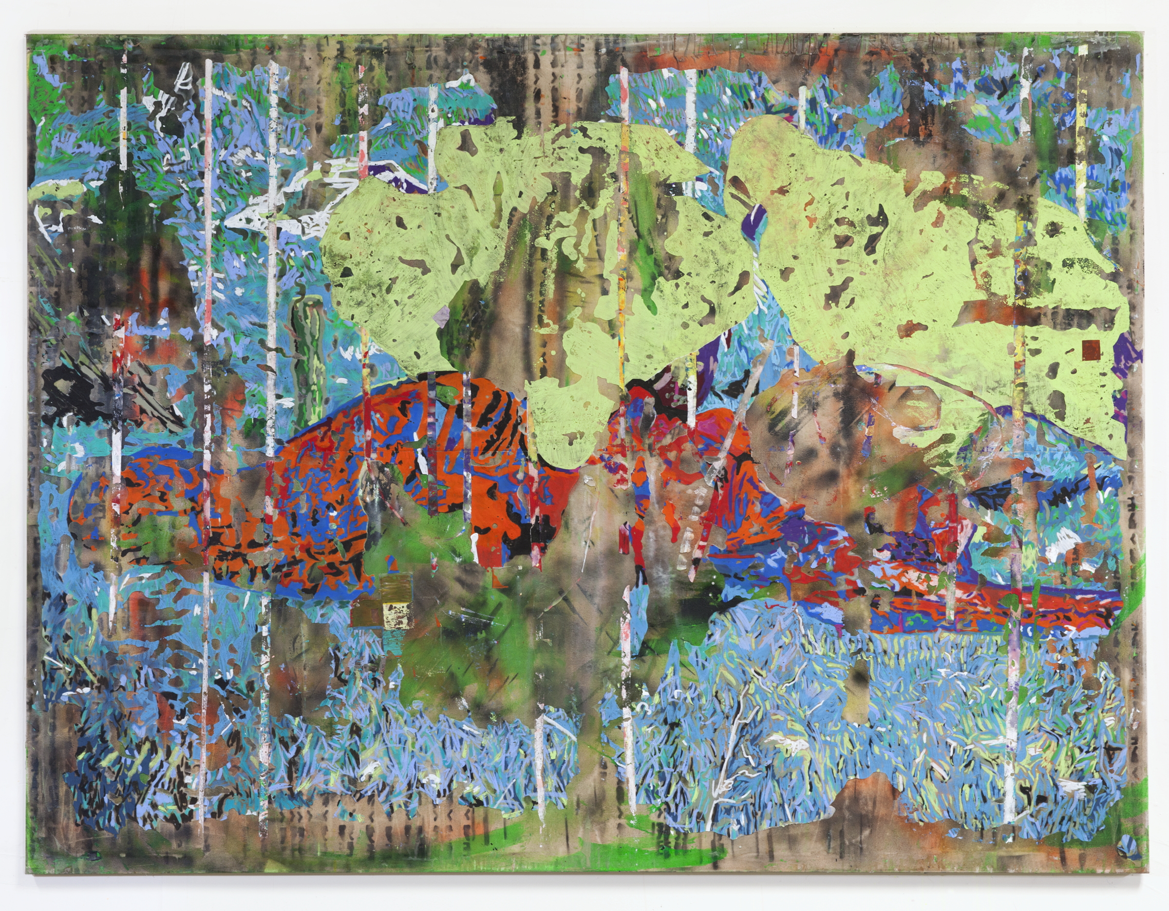 JPW3,  Morning Dew , 2018, oil pastel and wax on canvas, 72 × 96 in.