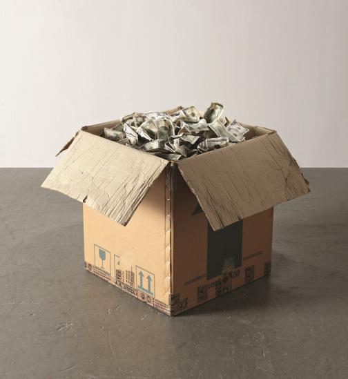Justin Lieberman,  Box of Money , 2007, cardboard box, inkjet on paper, dimensions variable