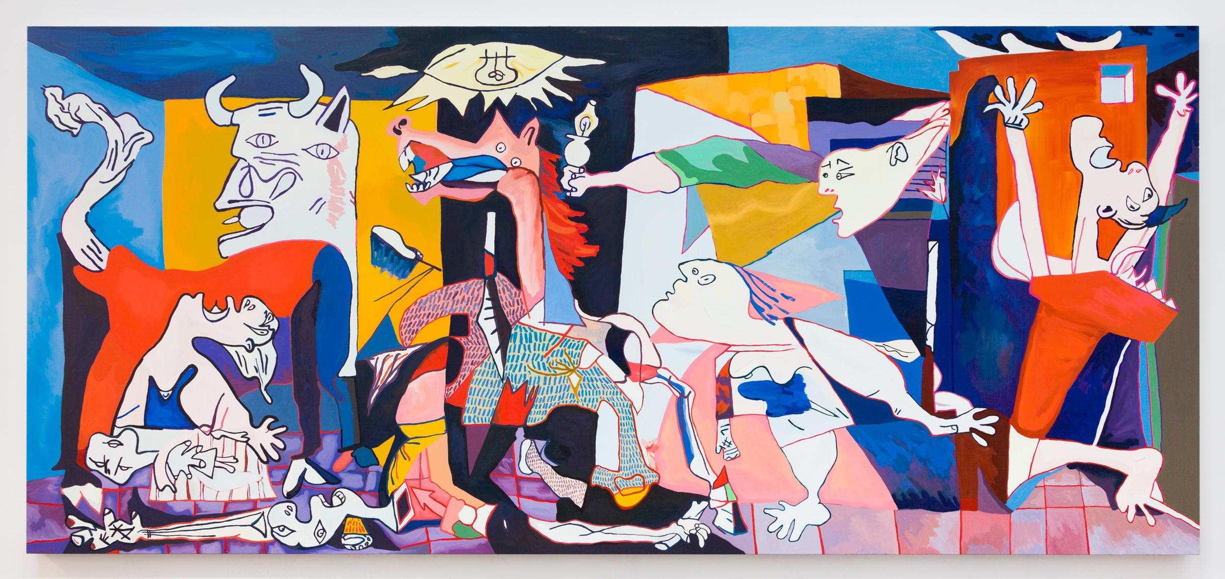 Alex Chaves,  Guernica , 2018, oil on canvas, 65 × 144 in.
