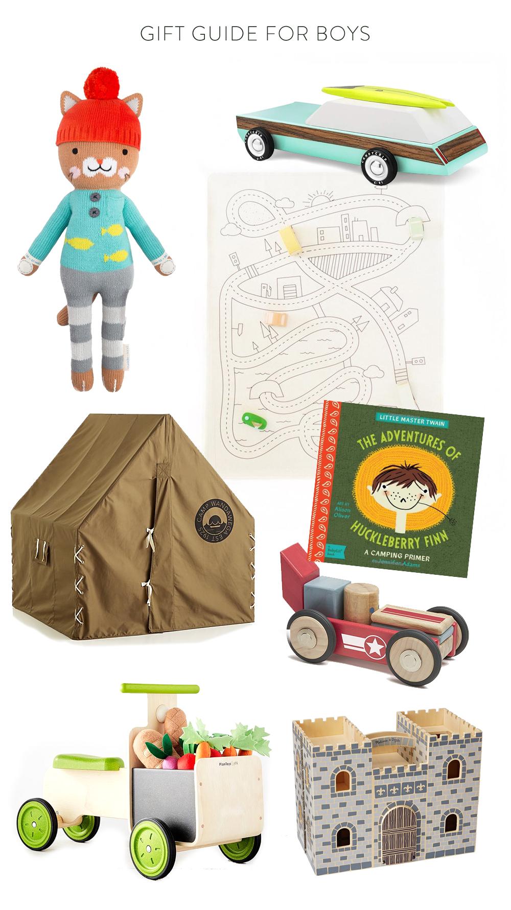 1.  Cuddle + Kind Cat  | 2.  Wooden Station Wagon  | 3.  Gathre Train Mat  | 4.  Huckleberry Finn Babylit Book  | 5.  Tegu block car  | 6.  Wood Castle  | 7.  Farmer's Market Ride-On Truck  | 8.  Explorer Tent