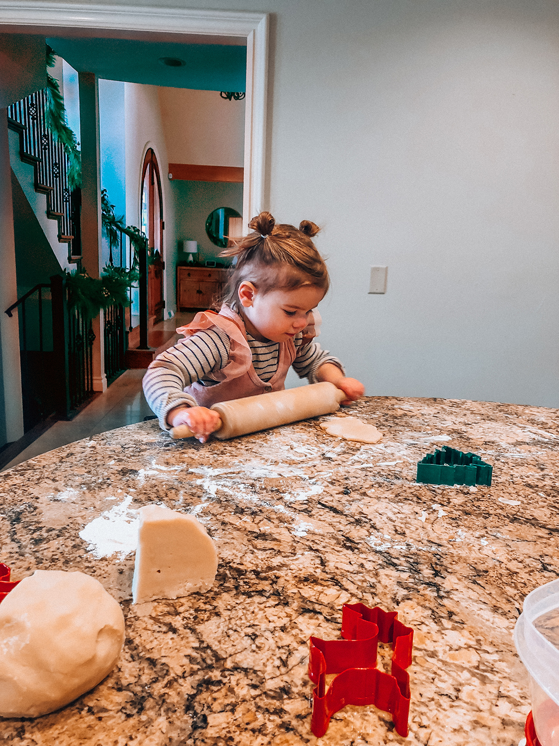B loved making cookies with Lolly the week of Christmas! We broke in our kitchen and oven with sugar cookies - the best way to break in any kitchen I think.