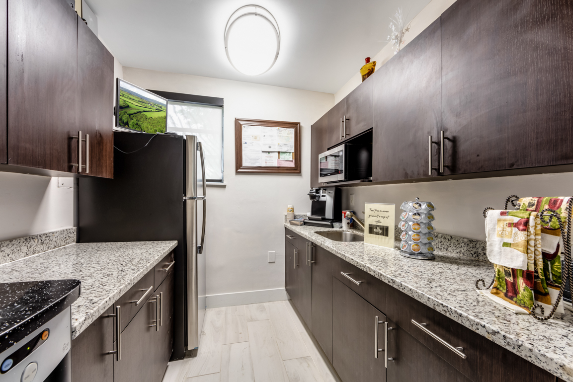Leasing office kitchenette
