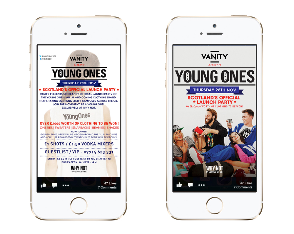 Social media promotion for Scottish launch of apparel brand Young Ones.