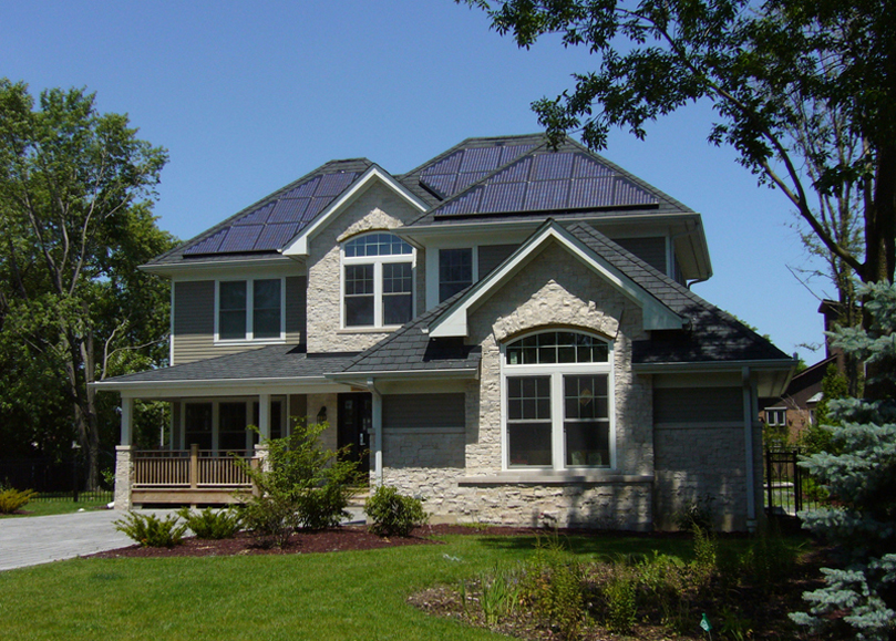 Front facade with solar PV panels