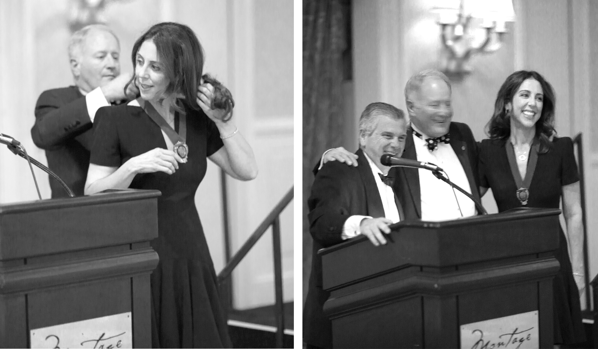 LEFT:   Past President Scott Deluise putting on the Current President Medallion on Diane Swerling. RIGHT:   Brian Goodman, Esq (Counsel to NAPIA)officially announces Diane Swerling as acting President for 2016.