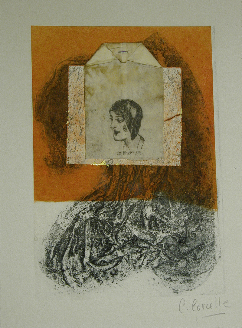 """Collage 8, collagraph, 14 x 11"""", $150"""