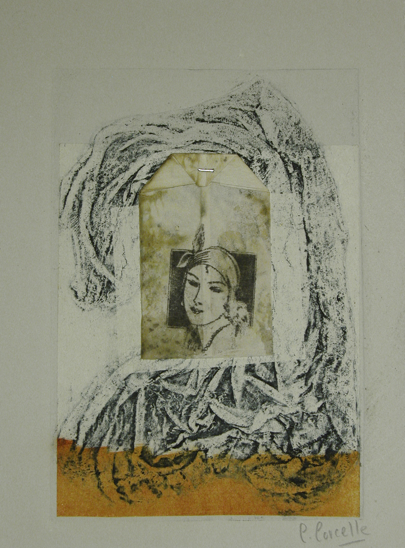 """Collage 17, collagraph, 14 x 11"""", $150"""