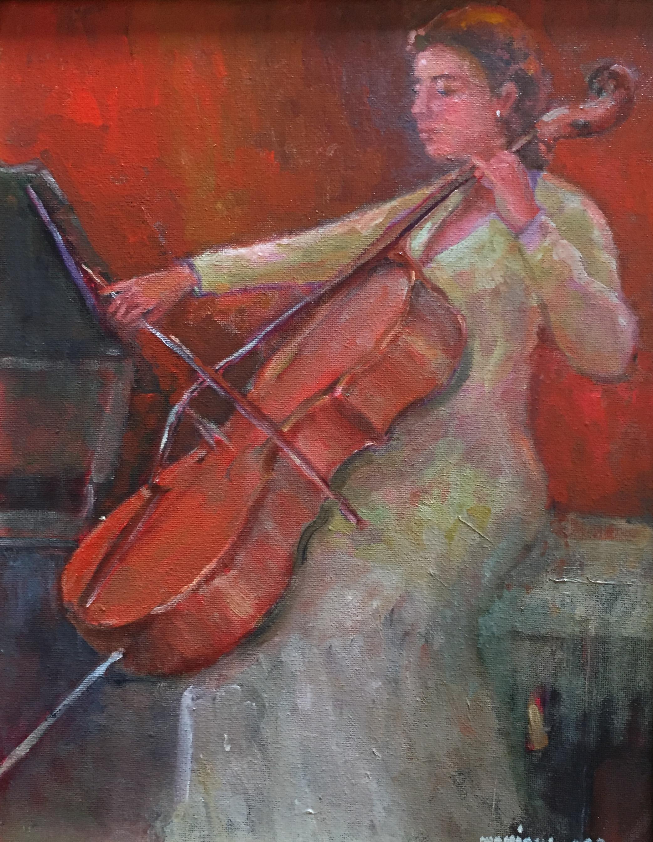 The Cellist, oil, 14 x 11, (+ frame), $985