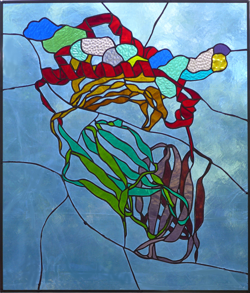 "Recognition II, 29"" x 24"", stained glass"