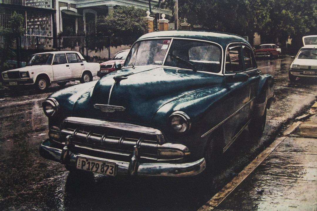 "Cuba Chevy, 18"" x 22"", polymer plate photogravure, $375"