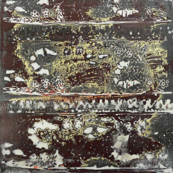 "Mountain I, encaustic, gold leaf, 6"" x 6"", $200"