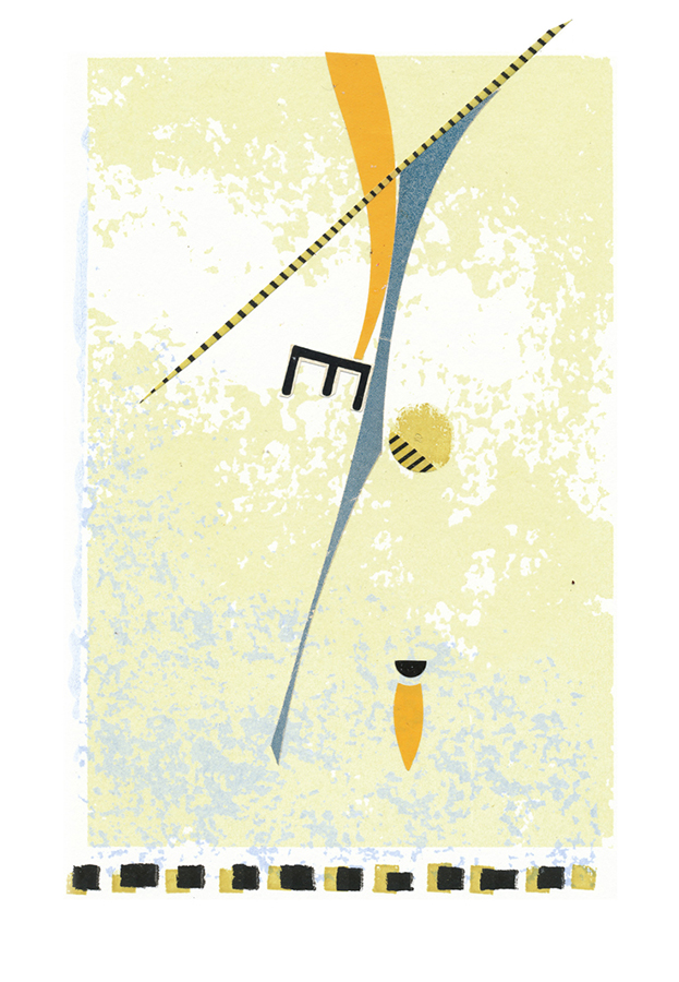 """""""Catching a Thread III"""", screenprint & antique papers, 14"""" x 11"""", $250"""