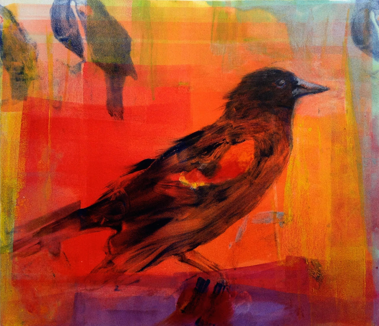 "'Red Wings VI', monotype, 19"" x 17"", $525"