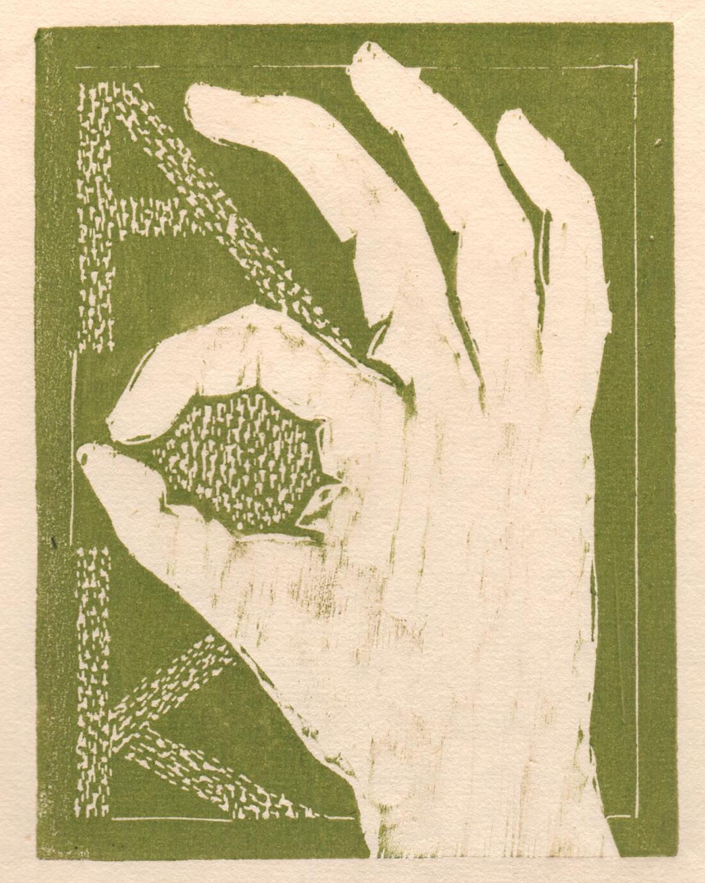 """'Helping Hands, AOK', woodcut, 6.5"""" x 5"""", $80 unframed"""