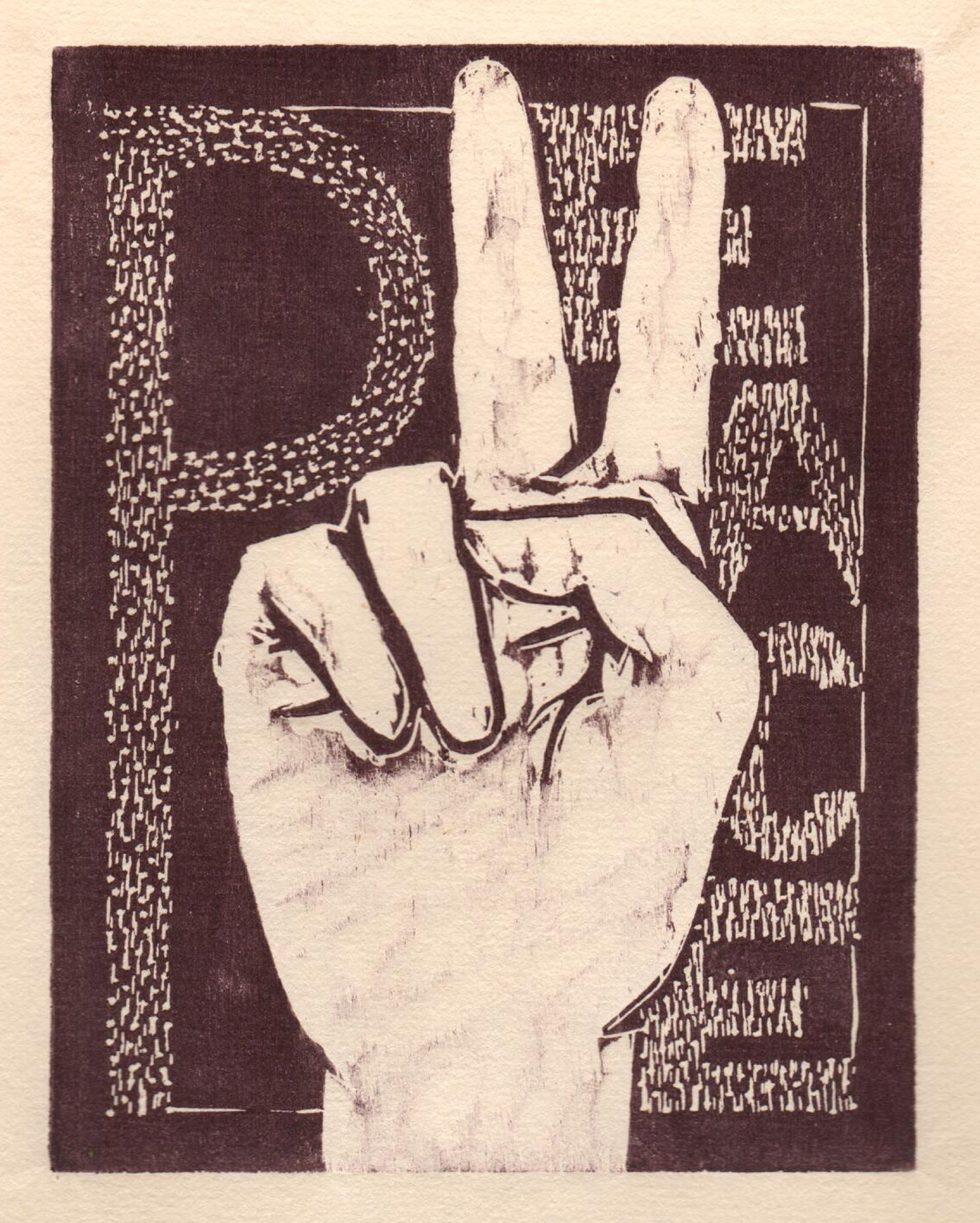 "'Helping Hands, Peace', woodcut, 6.5"" x 5"", $80 unframed"
