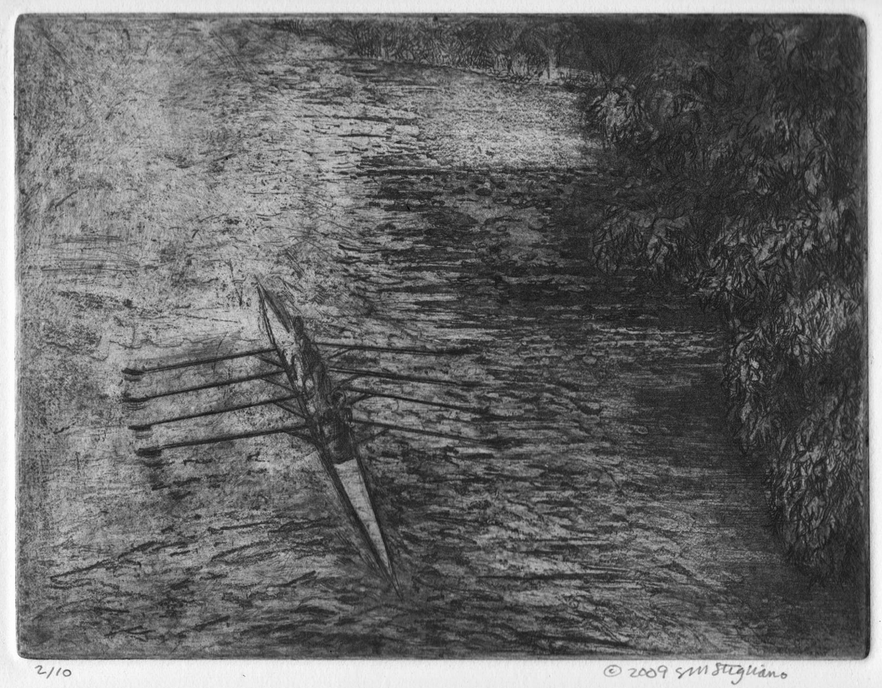 """'Quad On The Charles', etching, 14.5"""" x 17"""", $200"""
