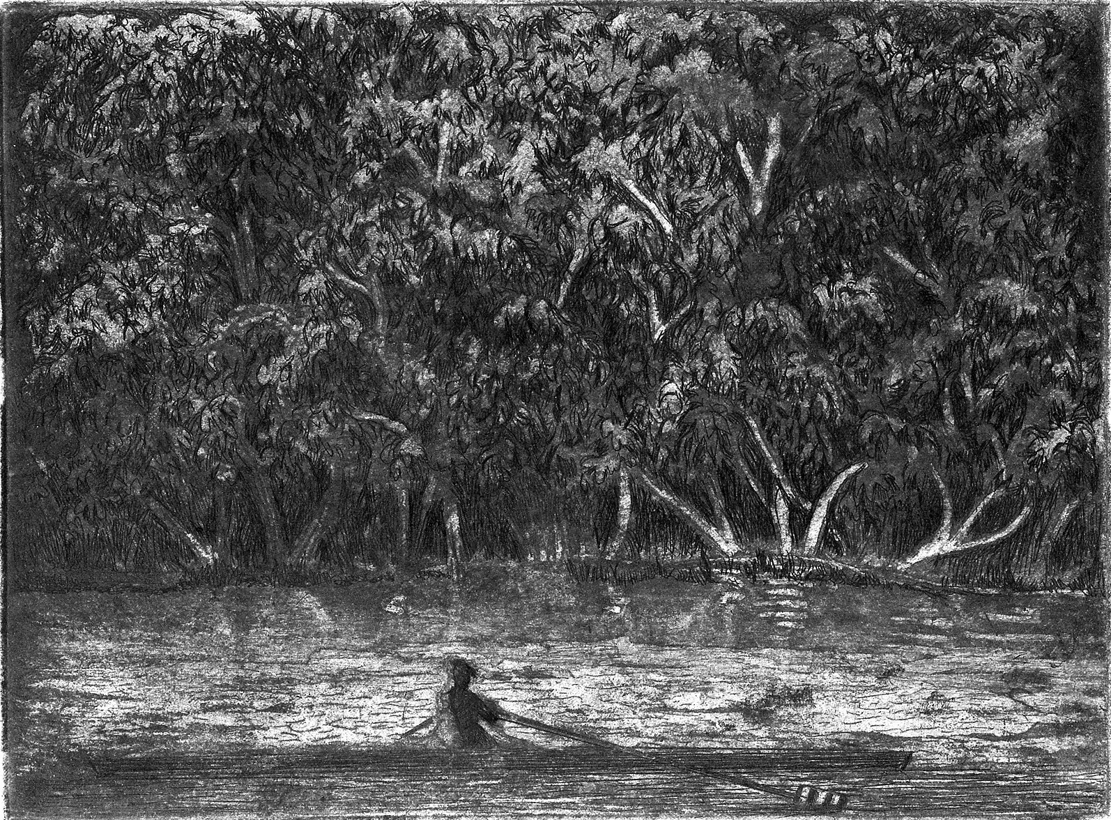 """'Single On The Charles', etching, 14.5"""" x 17"""", $200"""