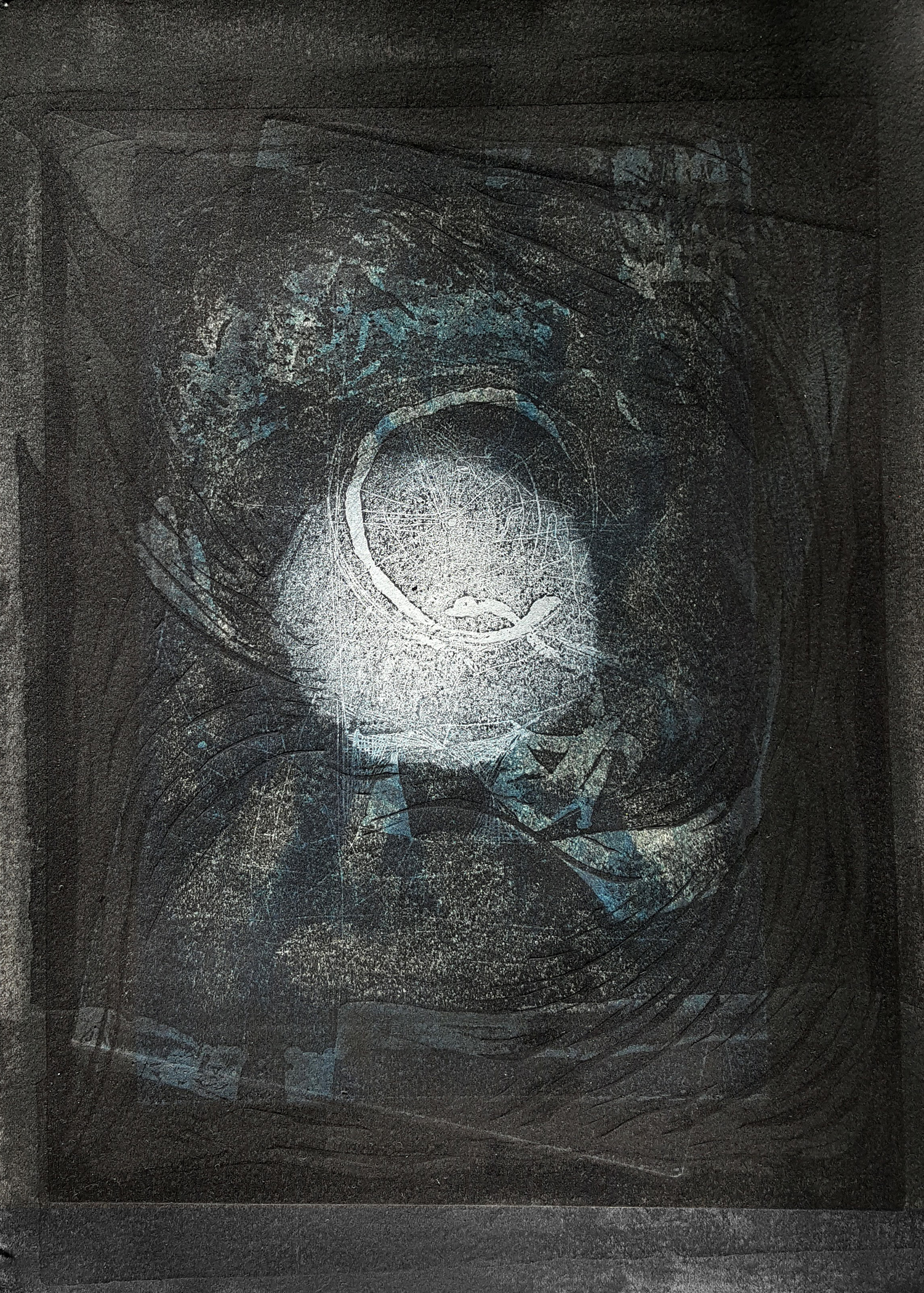 "'Moon Eclipse', etching, linocut, monoprint, 15"" x 12"", $300"