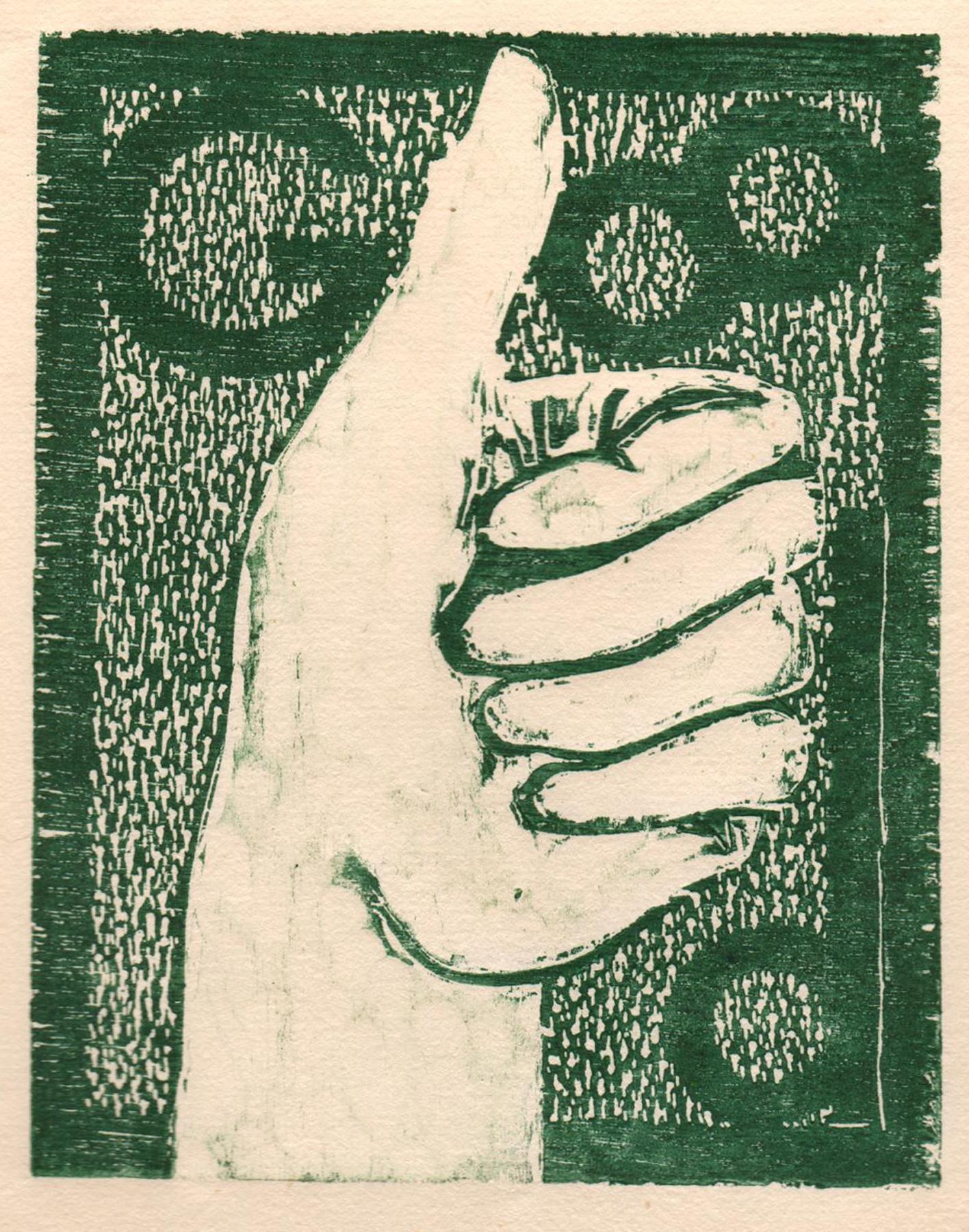 """'Helping Hands, Good', woodcut, 6.5"""" x 5"""", $80 unframed"""