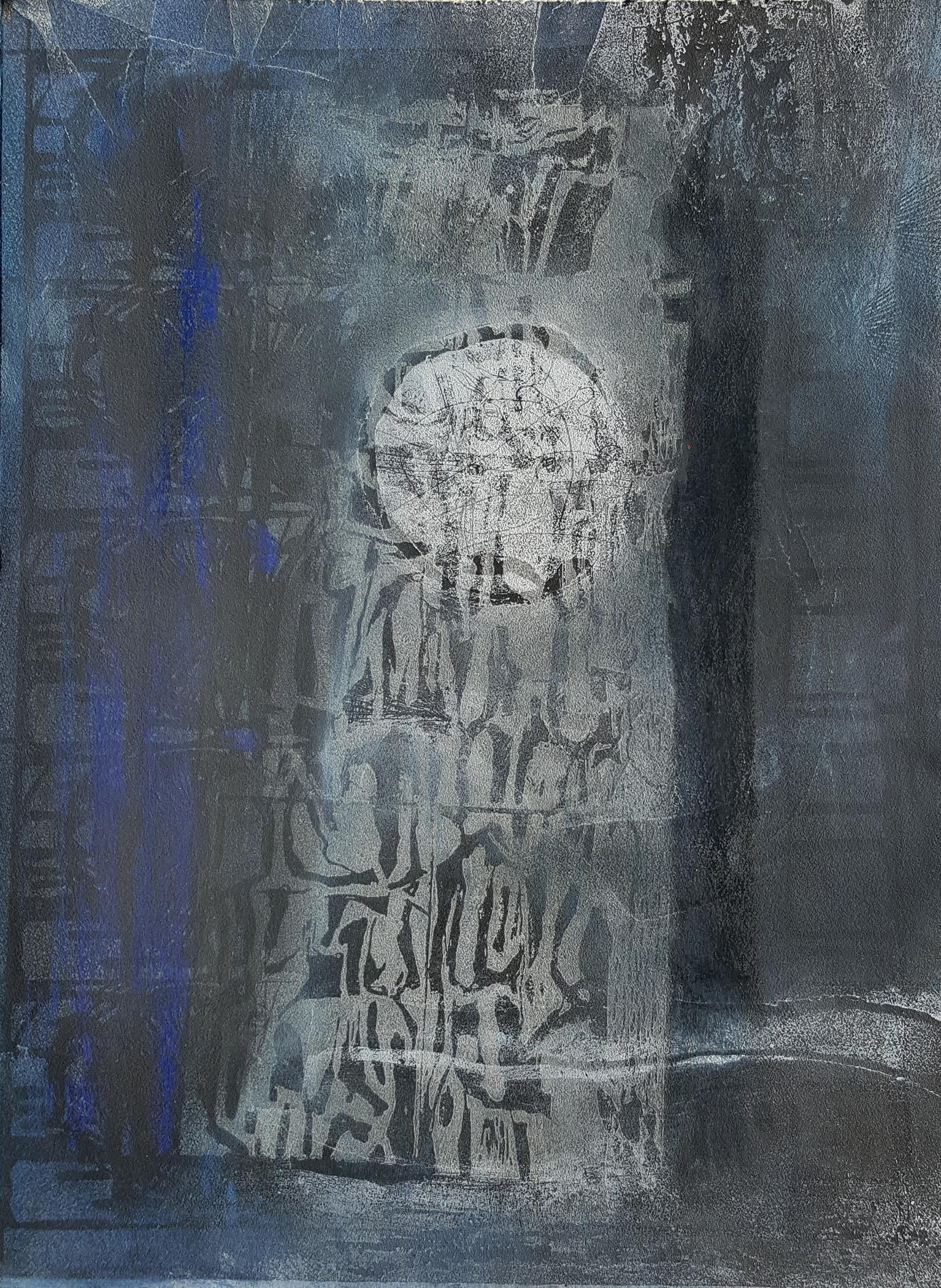 """'Moon & Landscape', etching, linocut, monoprint, 15"""" x 12"""", $300"""