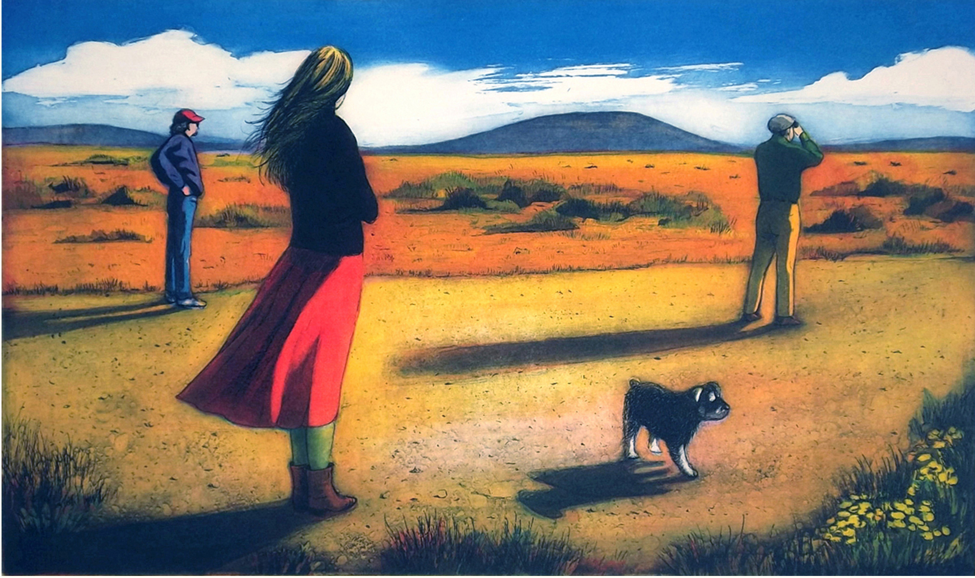 'Trainspotting', colored etching, Mary Teichman