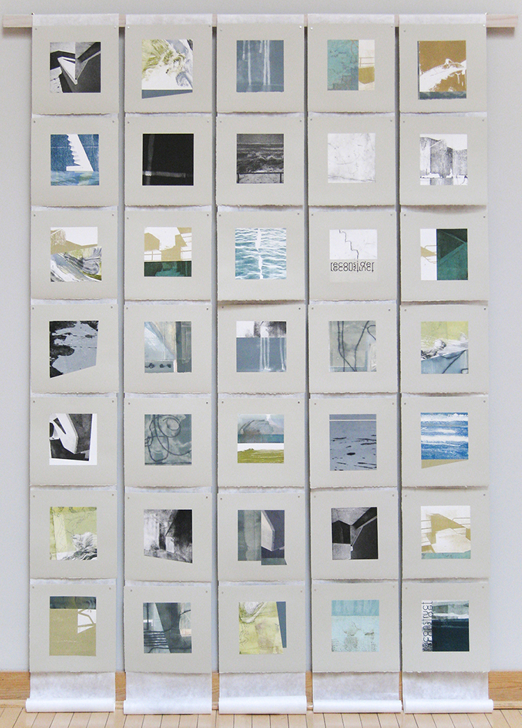36 Views At The Sea Wall, cut & collaged etchings and monotypes, 7' x 5', $3,000