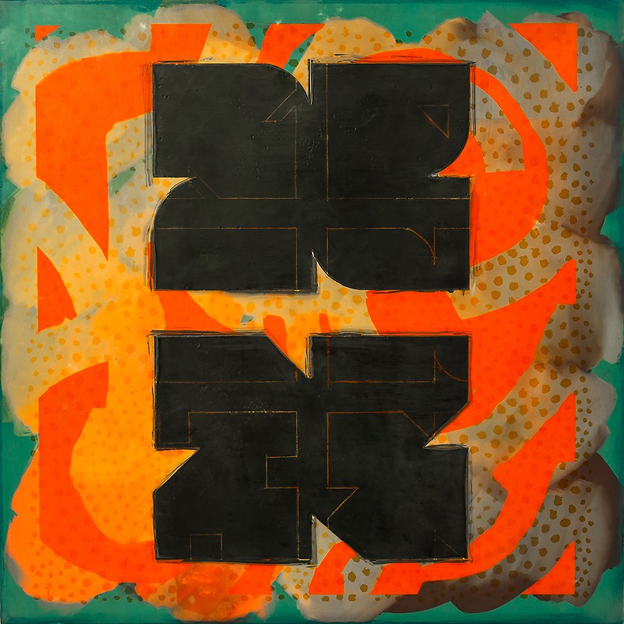 """Geometric Consequences"", encaustic & mixed media, 16"" x 16"", $850 (framed)"