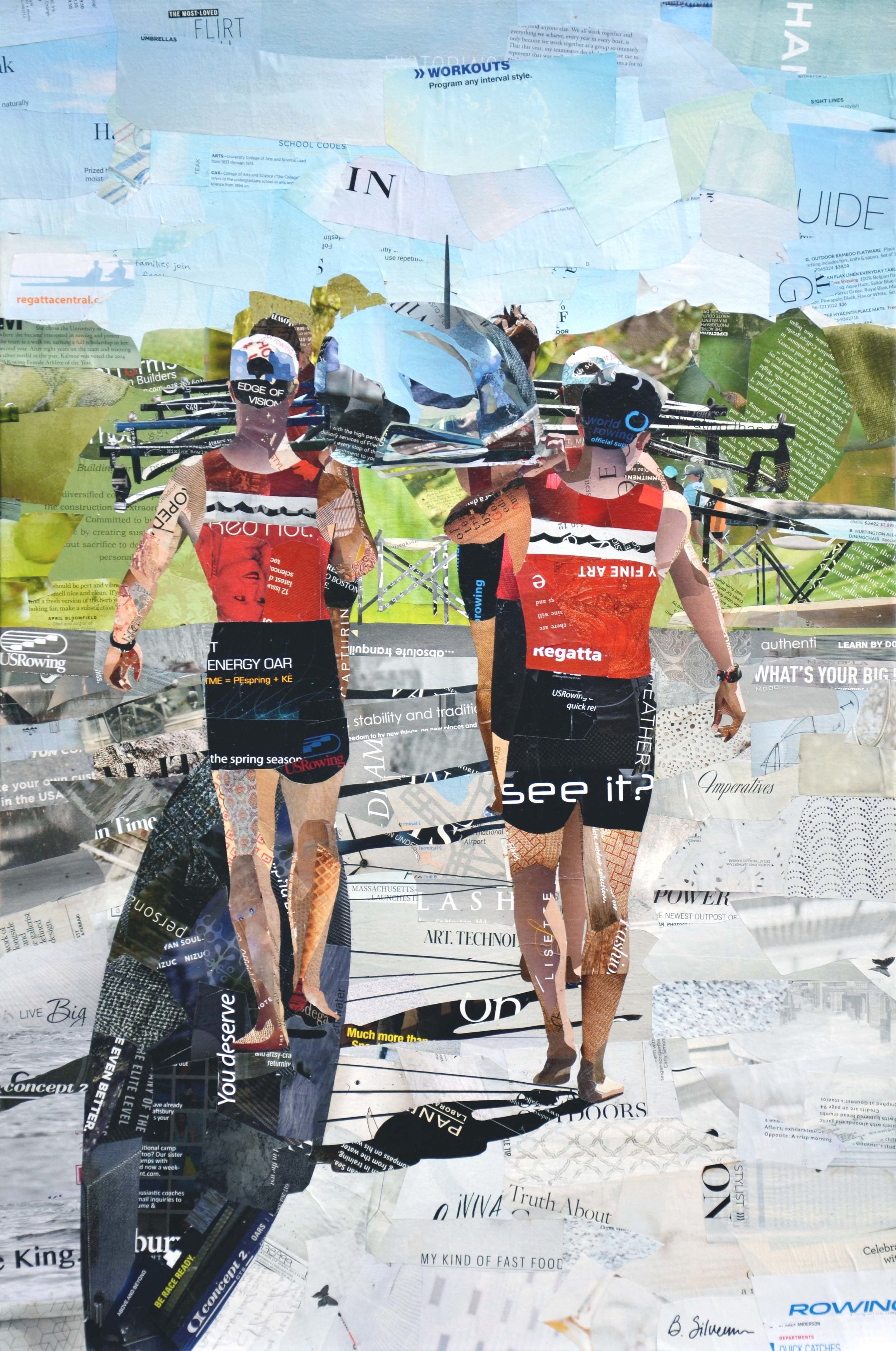 """Rowing Season"", collage, 30 x 20"", SOLD"