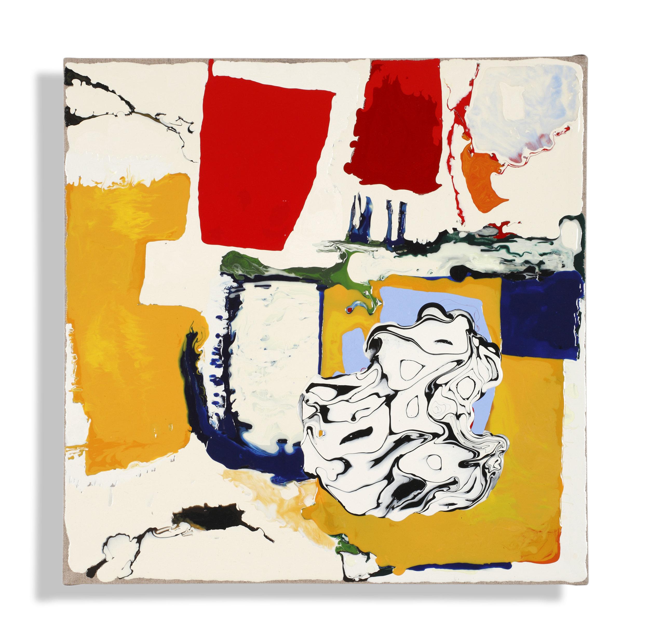 "Color Study, (inspired by Richard Diebenkorn,) acrylic medium on linen, 23 x 23 x 2.75"", $1,500"