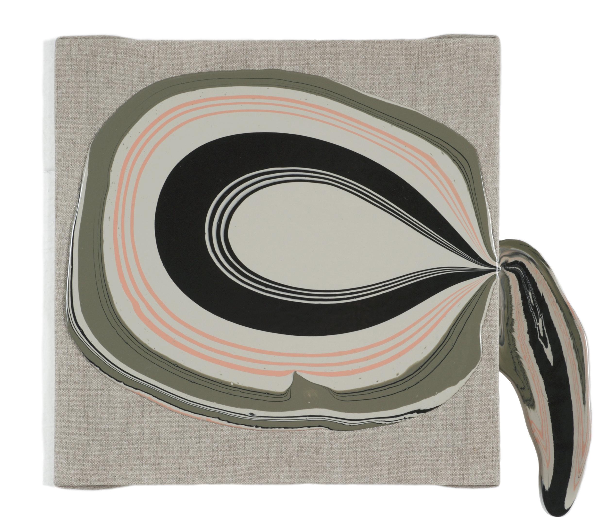 """Amerika"" (inspired by Edward Gorey Book Cover Design,) acrylic medium on linen, 11 x 13 x 3"", $475"
