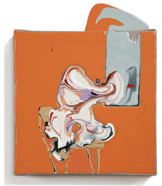 "Color Study, (inspired by Francis Bacon,) acrylic medium, 13.5 x 11 x 3"", $525"
