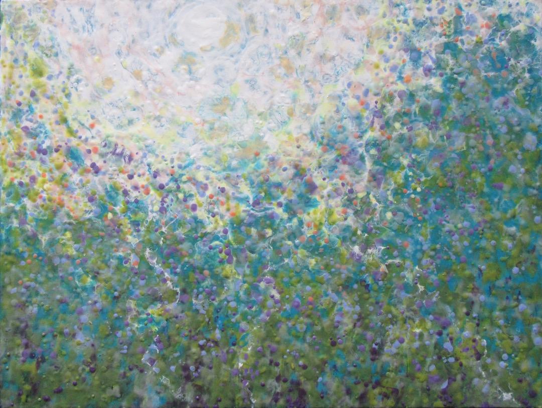 """Reaching For The Light"", encaustic, 30 x 40"", $1,500"
