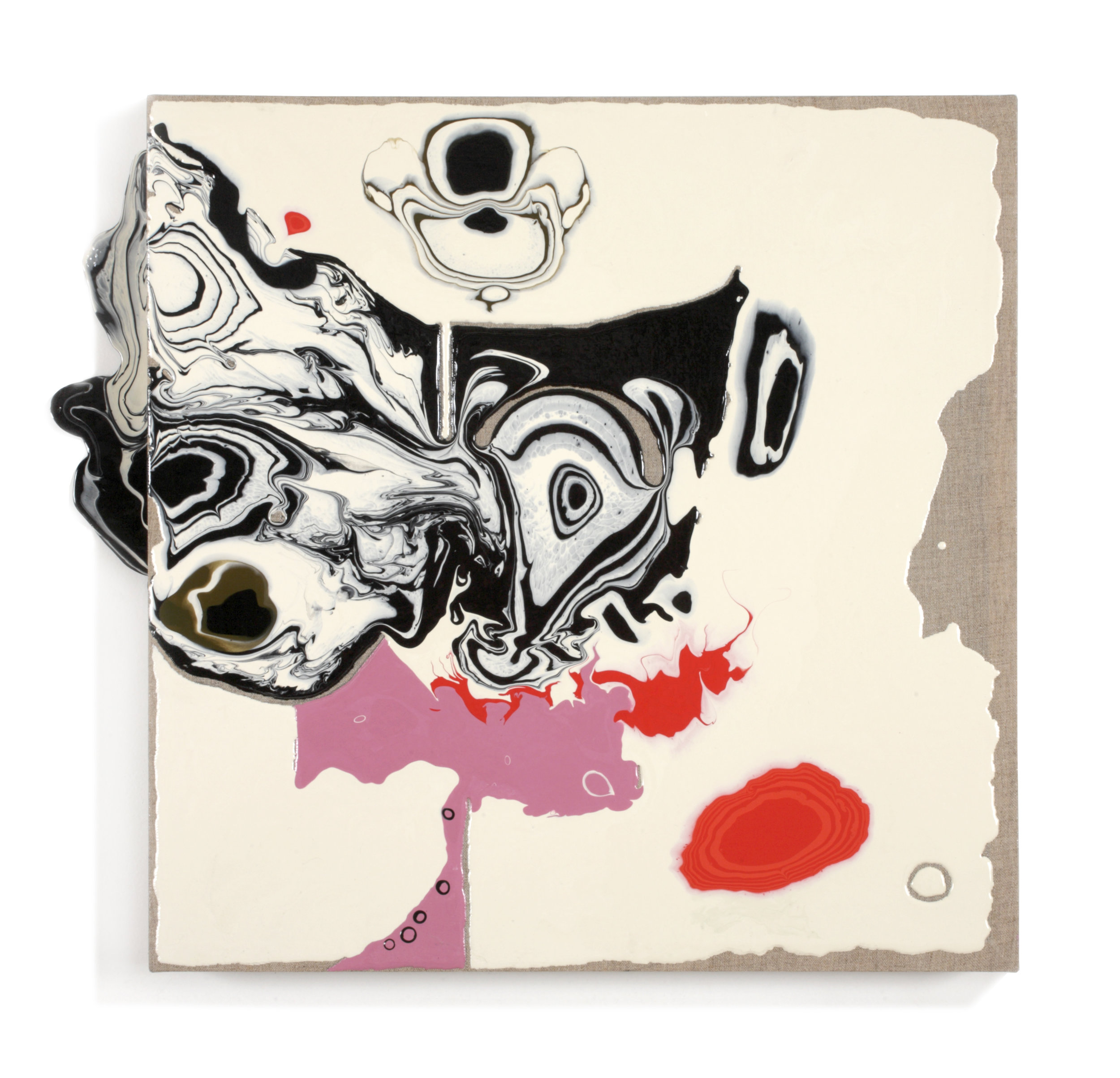 "Mid-Century Book Cover series, ""Farenheit 451"", acrylic medium on linen, 23 x 26 x 3"", $1,500"