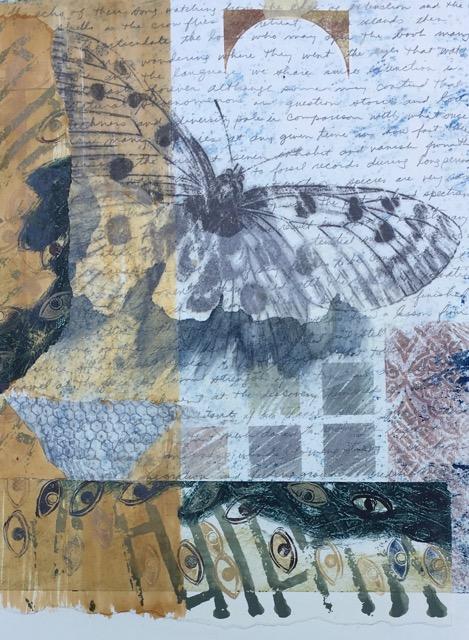 """Echo Of Extinction"", monotype collage, 24 x 16"" (image size), $500 (framed)"
