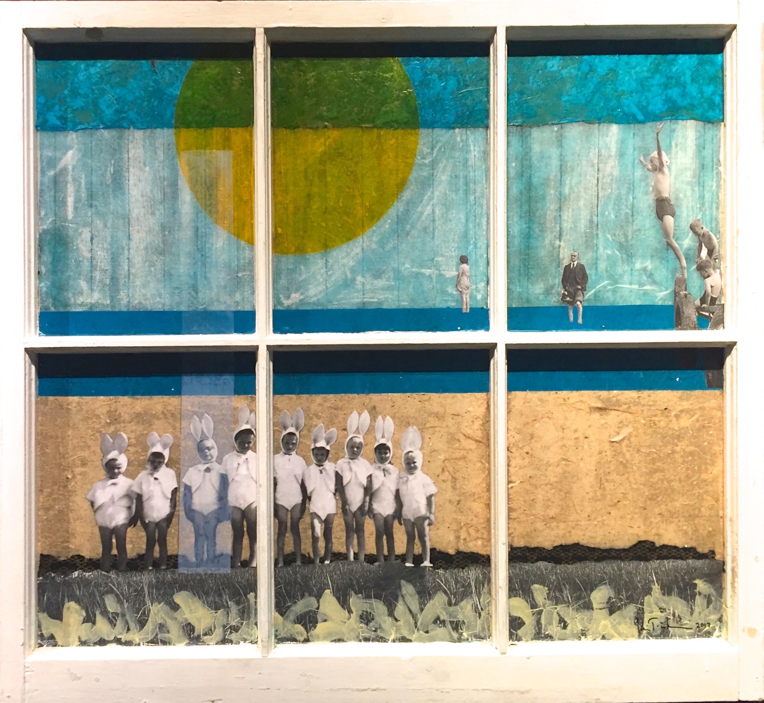"""Risen"", collage,  33 x 36"", $1,100"