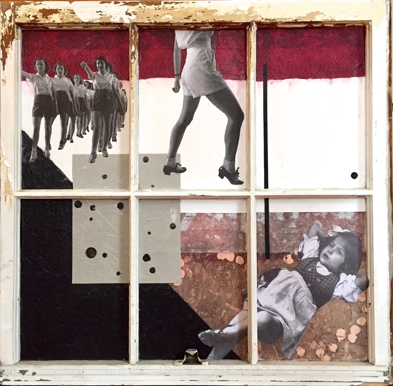 """""""The Line"""", collage, 26.5 x 27.5"""", $950"""
