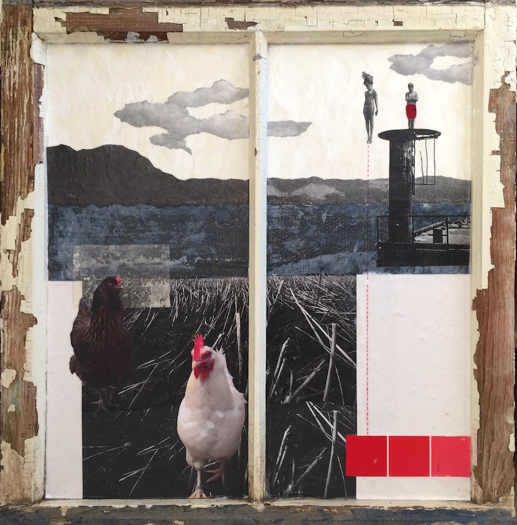 """""""The Dare"""", collage, 25.5 x 24.5"""", $815"""