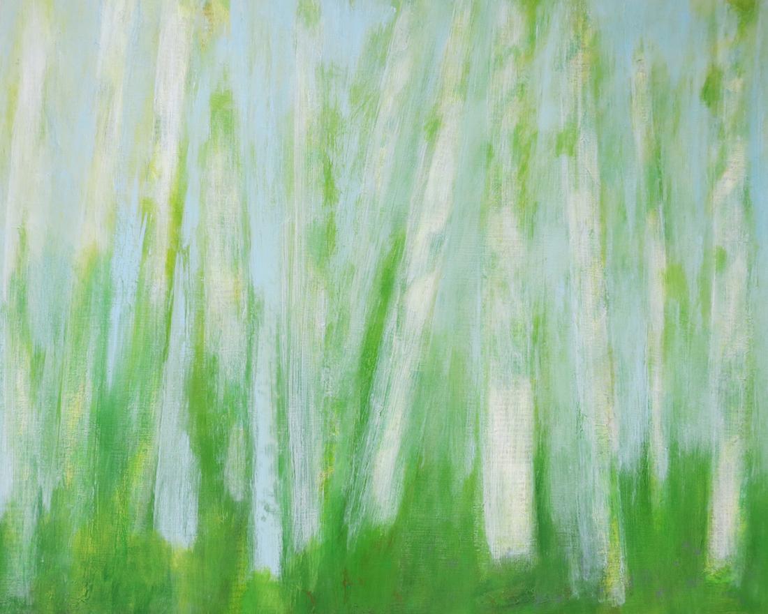"""Paper Birches III"", mixed media, 16 x 20"", $500"