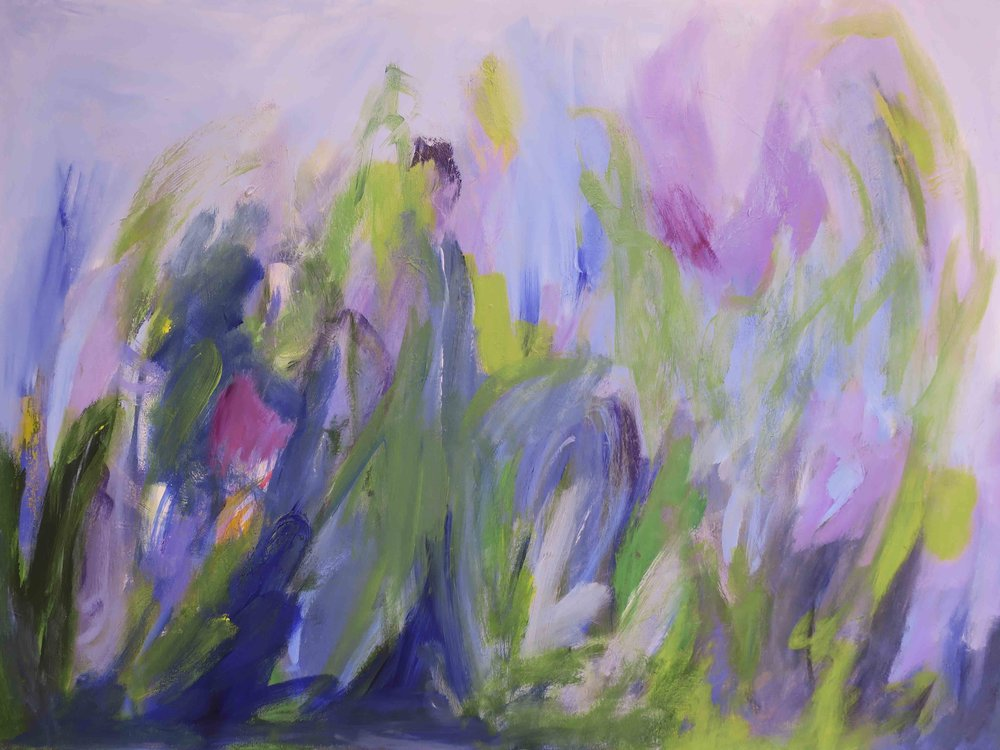 """""""First Blooms"""", acrylic, 30 x 40"""", $1,800 (framed)"""