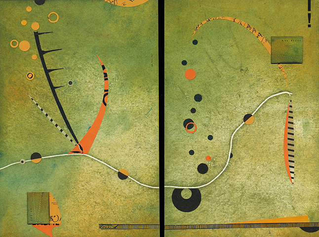 """""""A Waltz You Can't Resist"""", mixed media, 12 x 17"""" (diptych), $500"""