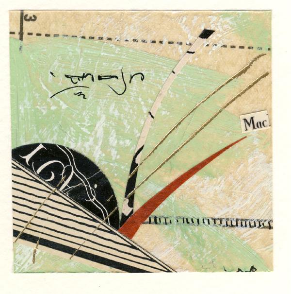"""Retro GPS III"", antique paper collage, 10 x 10"", $195"