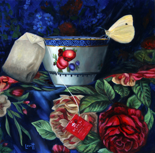 """Red Rose Tea & Cabbage"", oil on panel, 13"" x 13"", $1,100 (framed)"