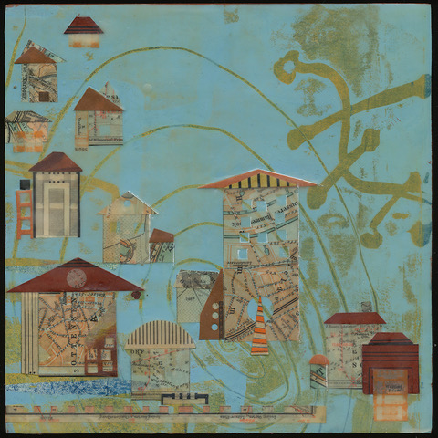 """""""New Town"""", wax & antique papers, 8"""" x 8"""", $175"""