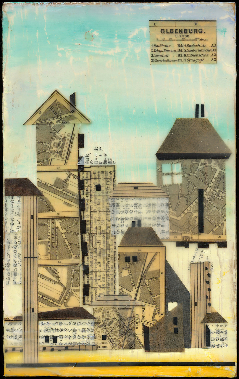 """""""Oldenberg"""", wax & antique papers, 8"""" x 5"""", $185"""