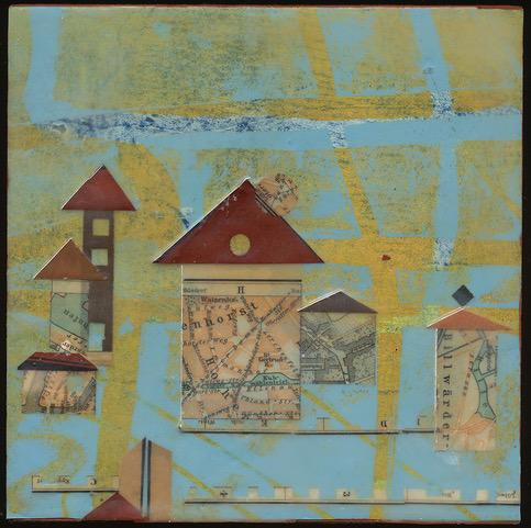 """Billwater"", wax & antique papers, 6"" x 6"", $125"