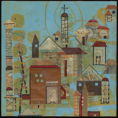"""""""Bordertown"""", wax & antique papers, 8"""" x 8"""", $175"""