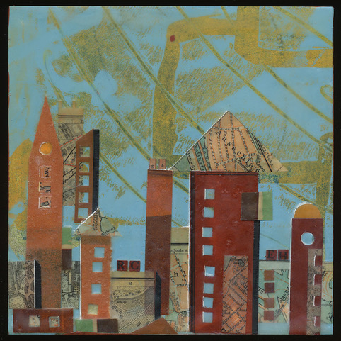 """""""City Center"""", wax & antique papers, 6"""" x 6"""", $125"""
