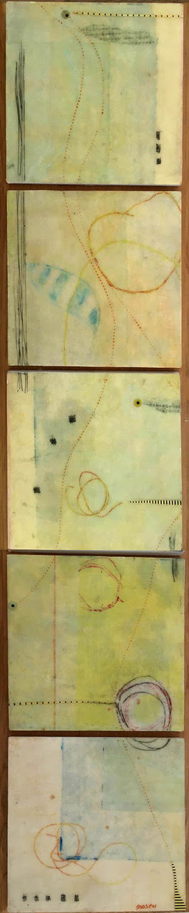 """""""Time Collector"""", encaustic, 26"""" x 6"""", $380"""