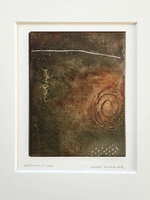 """""""Artifact No. 11"""", wax & oil stick, 14"""" x 11"""", $75 (matted)"""